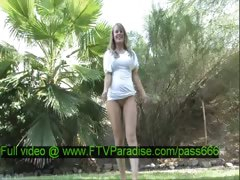 Brigitte mesmerising blonde babe undresses in the garden tube porn video
