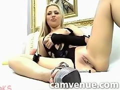 Blonde cam model uses dildo on her tight snatch
