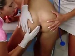 Nurses with strapons spit roasting a guy