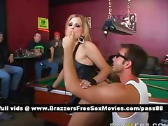 Amateur blonde slut in a bar plays pool tube porn video