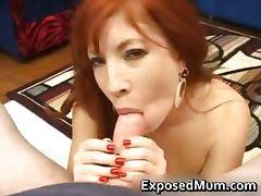 MILF redhead gulping hot jizz part3