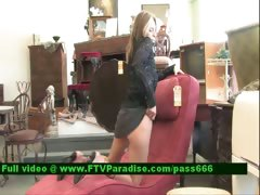 Brittni lovely blonde babe in a antique shop tube porn video