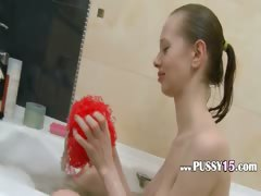 latvian super skinny girl in the shower tube porn video