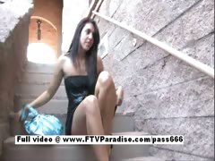 Claire superb brunette babe outside on the stairs tube porn video