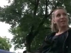 European teen girl banged in public after taking the money