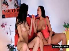 Lesbian nymphos sucking a double dildo tube porn video