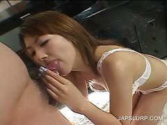 Japanese in lingerie licks a horny dick tube porn video