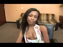 Ebony chick's interracial office fuck tube porn video
