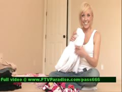 Loryn superb blonde babe on the floor chooses her clothes