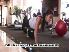Superb brunette slut in fitness