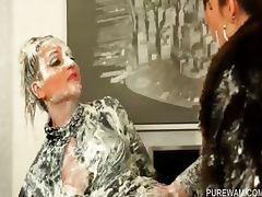 Fancy lesbos get covered in messy cream