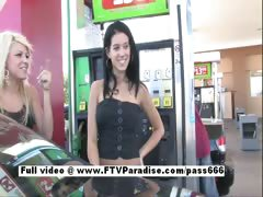 Amazing brunette babe walking into a gas station tube porn video