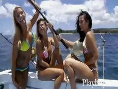 Three sexy hotties tryout sandboarding and frisky fishing