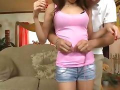 Tiny petite teen fingers her hot pussy