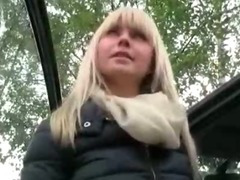 Big titted amateur blondie girl sucks and fucked in the backseat tube porn video