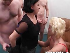 Sexy blonde and brunette blows cock