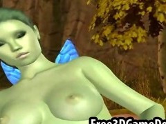 Sexy 3d cartoon elf with an all green and beautiful body tube porn video