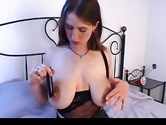 Busty girl with big saggy tits and hairy pussy masturbates