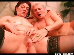 Two mature fat sluts have lesbian sucks part6