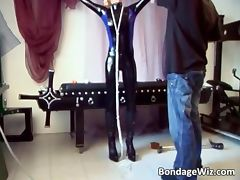 Skinny blonde whore plays bondage