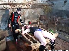 Filthy latex babe torture dude in kinky tube porn video