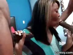High Class Ebony Slut Blowing Two Cocks tube porn video