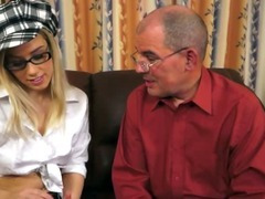 Horny grandpa seduces blonde cutie tube porn video