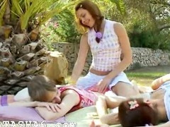 Incredible lesbian threesome from europe