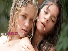 Beautiful schoolmates in the rain tube porn video