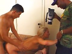 Huge black and white cocks fuck horny blonde slut