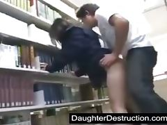 cute schoolgirl fucked by geek in lib