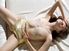 Super skinny girl strip her snatch tube porn video