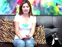Nervous brunette sucks the casting agent tube porn video
