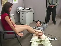 Office, Feet, Footjob, MMF, Office, Sex