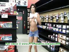 Trisha lovely brunette teenage public tits flashing