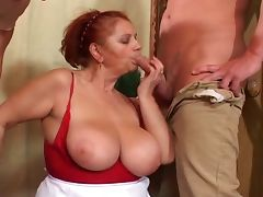 Redhead granny slut double teamed