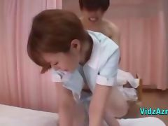 Asian Nurse In Pantyhose Getting Her Pussy Fucked Hard Cum To Ass On The Bed In The Hospital
