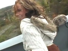 Big Titty European Girl Takes Facial Cumshot On Public Bridge