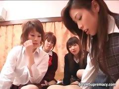 Cute Asian school girls got licked
