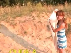 Russian babe shows pink on the fine sand tube porn video