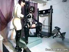 Kinky brunette girls get their latex tube porn video