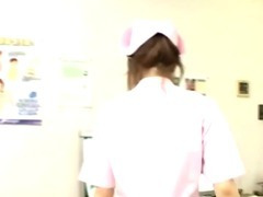 Japanese nurse cock jerking and cumshot action