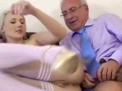 Teen slut fucks every old cock she meets