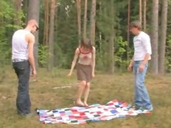 Amateur european threesome in the forest tube porn video