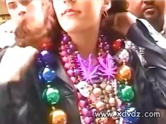 Naughty Girls Party On The Strets Of New Orleans Asking For Beads And Necklaces To Lift Their Tops