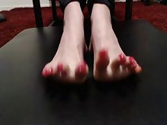 pink long toenails curling