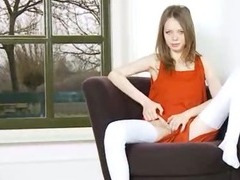 Skinny vagina teasing on the armchair tube porn video