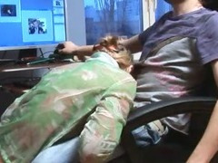 Russian babysitters fuck in the office tube porn video