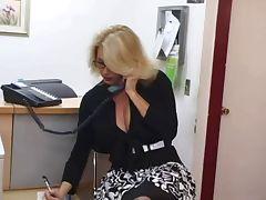 Mature secretary gets cum on her big tits tube porn video
