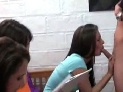 Group of college girls sucking one penis